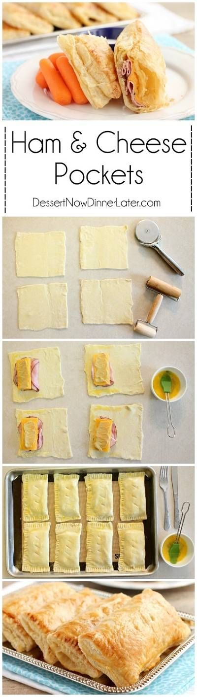 5 ingredient Ham and Cheese Pockets are easy to make for a great tasting hot lunch or dinner!