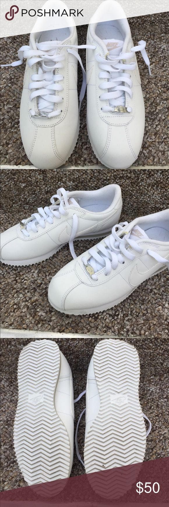 Women's Nike Cortez White Size 6.5 These shoes have been worn once! My feet are too wide for them so never wore them again. Nike Shoes Sneakers