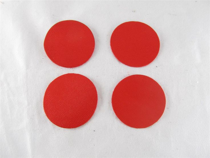 Red leather discs 45mm (2 pcs) DIY cut leather flowers Craft supplies Jewelry materials Leather pieces