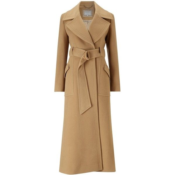 Grace & Oliver Evie Wool Maxi Coat, Camel (1,095 BAM) ❤ liked on Polyvore featuring outerwear, coats, long slip, olive green coat, long coat, full length coat and full length maxi slip