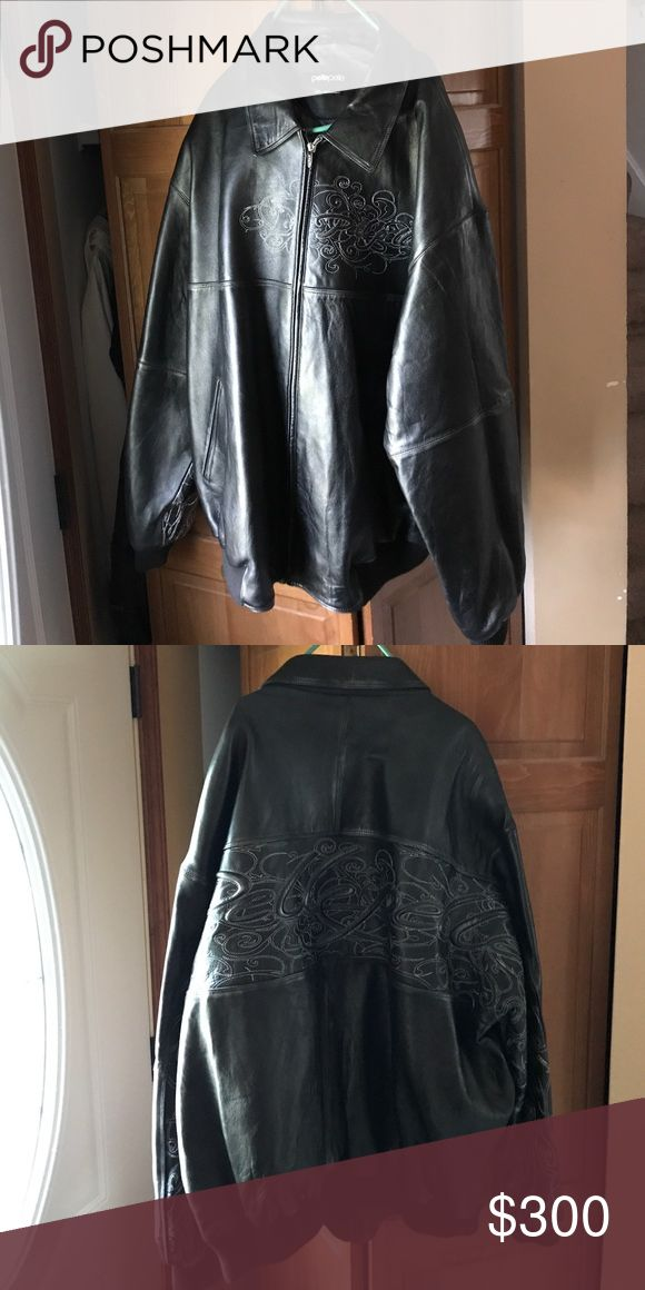 Pelle pelle leather jacket Black and silver with design on the front and back Pelle pelle leather jacket worn once. Pelle Pelle Jackets & Coats