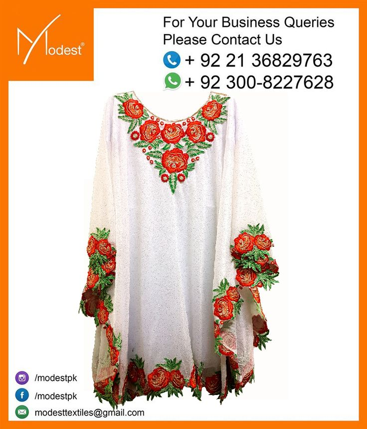 MOD-998 Size: 18-22 And 24-34 Colors Available: White,Yellow,Blue And Off-White For any other details you can contact us at: care@modest.pk or you can just leave your message here.Feel Free to ask us about anything. #Pakistani #Clothing #Girls #Dress #Apparel #Garments #WnterCollection #Ethnicwear #NewArrivals #modestpk #modest
