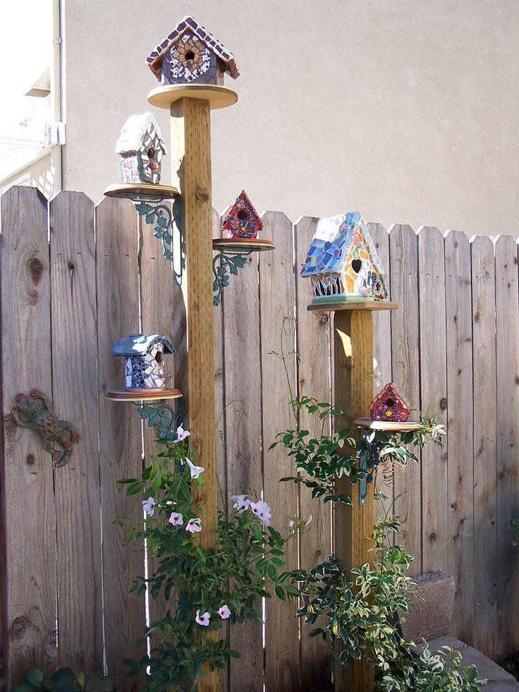 birdhouses   could also make more naturel..but nice inspiration