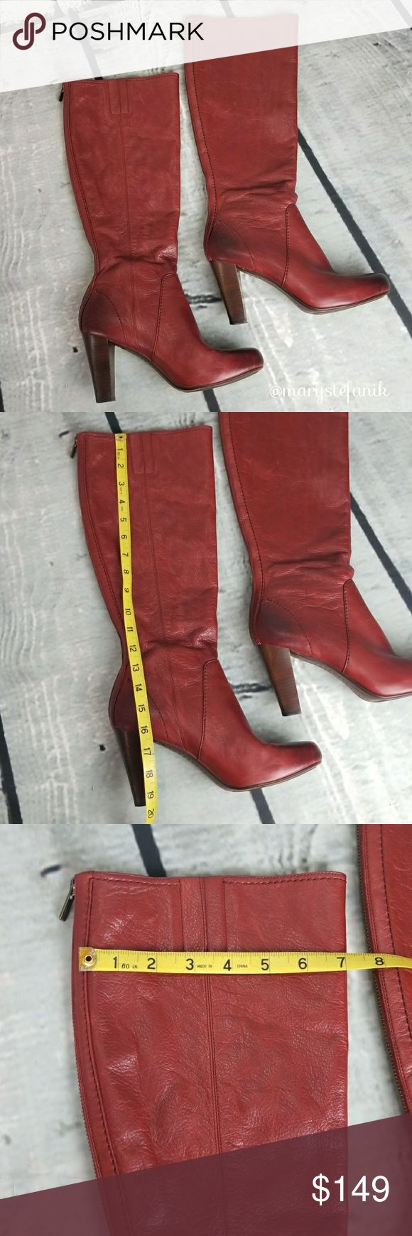 Frye Red Marissa Back Zip Tall Heeled Boots size 9 Frye Red Marissa Back Zip Tall Heeled Boots size 9 in great used condition. Some signs of use including minor marks on exterior and marks on the interior. Some wear to the bottom including scuffing to the heel. Zippers are functional. Gorgeous boots and beautiful color!  Please let me know if you have any questions. Happy Poshing! Frye Shoes Heeled Boots