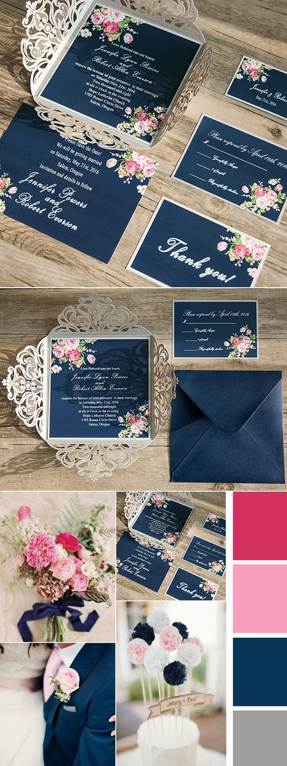 Shabby Chic Floral Navy Blue and Pink Wedding Colors Inspired Laser Cut Wedding Invitations: