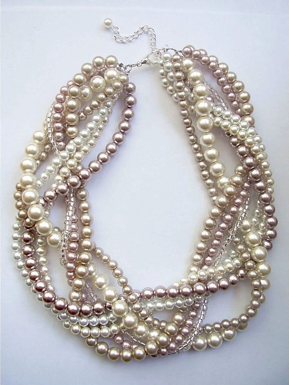Custom order necklaces braided twisted chunky statement pearl necklace. $37.50, via Etsy. Maybe with purple?