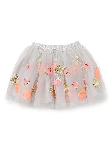 100% Polyester Tutu. Layered, tulle tutu with elasticated lurex waistband. Features all-over sequinned fruit motifs. 100% Cotton lining. Regular fit, available in Dove Grey.
