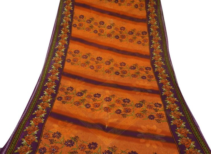 Vintage Style New India Saree Pure Cotton Printed Fabric Decor Floral Orange 5YD: Amazon.co.uk: Kitchen & Home