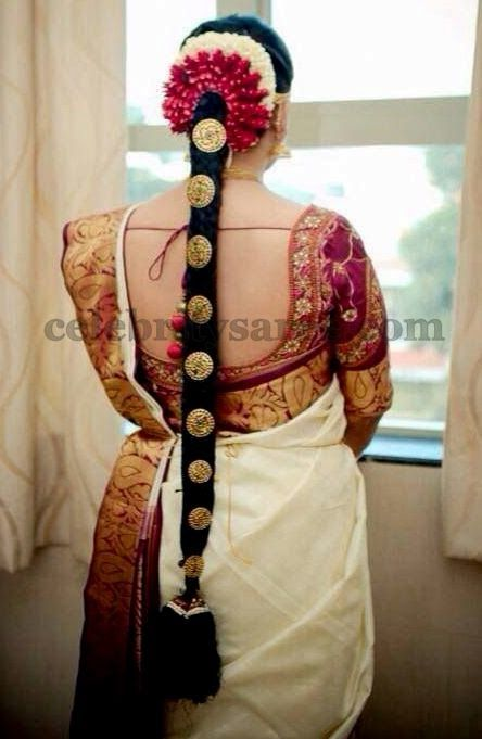 Cream Bridal Saree with Blouse | Saree Blouse Patterns