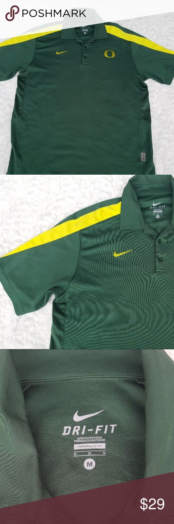 """Mens U of O Ducks Nike Drive Fit Medium Polo Shirt Mens Nike Dri Fit Medium University of Oregon Ducks Polo Shirt Green Yellow  Type: University Apparel Style: Polo Shirt Brand: Nike Dri Fit Material: 100% Polyester Color: Green, Yellow Measurements: Armpit to armpit 21"""", Shoulder to hem 27.5"""" Condition: used Country of Manufacture: Indonesia Nike Shirts Polos"""