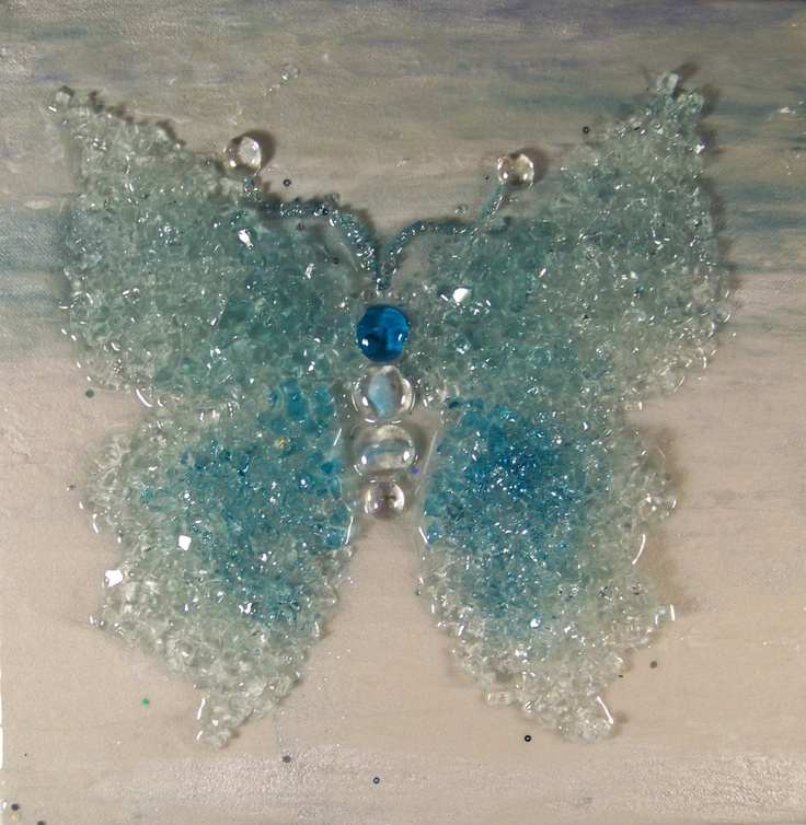 Crushed glass butterfly