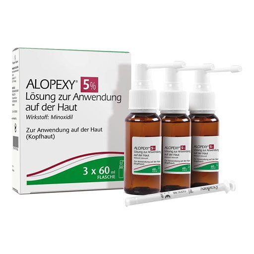 ALOPEXY 5% Lösung zur Anwendung auf der Haut - Die ALOPEXY 5% Lösung gegen erblich bedingten Haarausfall bei Männern stoppt wirksam Haarausfall und Geheimratsecken.