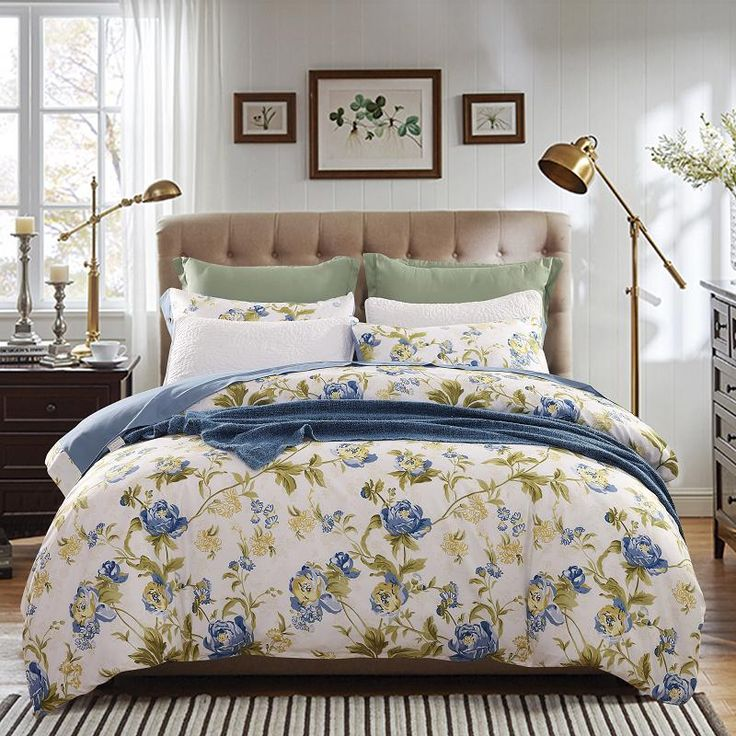 Купить товар2015 нью голубой цветок постельных принадлежностей 4 шт. хлопок постельного белья королевы одеяло / комплект простыни хлопок покрывало в категории Постельное бельёна AliExpress.  Бесплатная доставка роскошные постельные принадлежности набор 4 шт. постельное белье устанавливает Королева Король одея