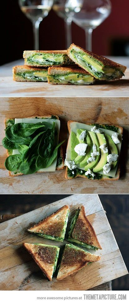 Green Goddess Grilled Cheese Sandwich | Avocado grilled cheese recipe}  pesto, avocado, spinach, goat cheese, mozarella