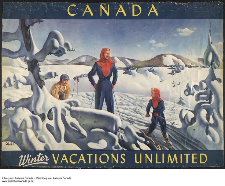 Le Canada, pour des vacances hivernales sans limites! Affiche touristique du gouvernement du Canada, ca. 1945, provenant de la collection Marc Choko (R1409), Bibliothèque et Archives Canada.