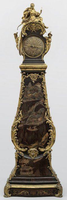 Orologio a torre Luigi XV in lacca di Coromandel