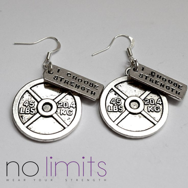 www.NoLimits.net.au Handmade fitness themed jewellery.  weight plate earrings with strength tag