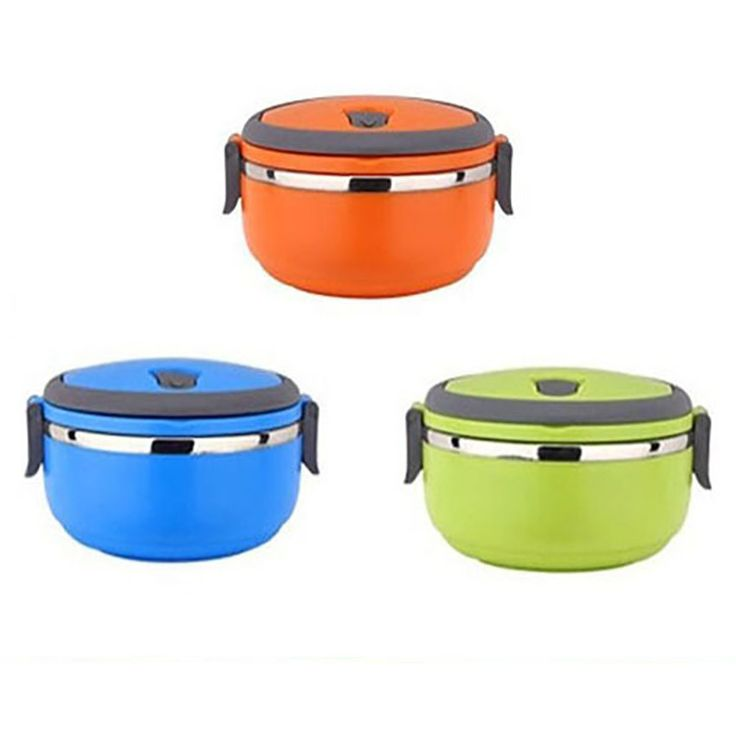 Bento solid color thermal food container or lunchbox. Material: Metal Feature…
