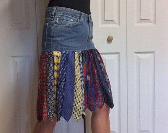 Upcycled Denim rok/korte Jean rok/knie lengte rok/gerecycled blauw Jeans/zijde stropdas rok/voorzien kleding/Womens maat 10
