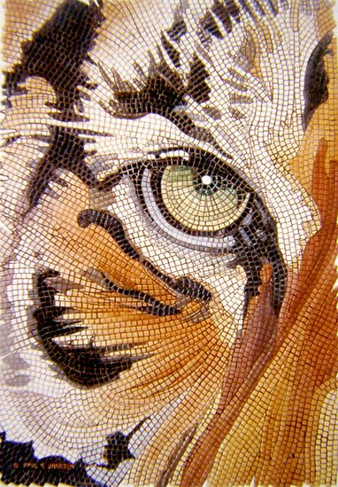 """""""Tiger Tiles"""" Watercolor Mosaic byPaul Jackson"""