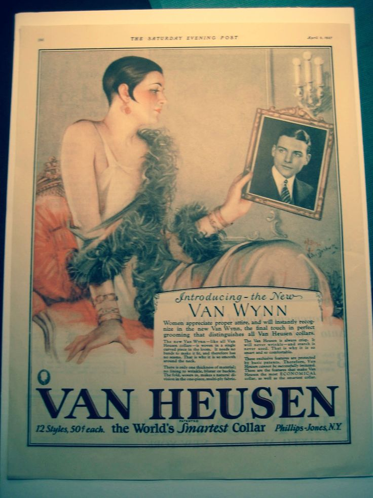 The Saturday Evening Post, April 9, 1927, page 168. Van Heusen advertisement artwork by Carl Orem Van Buskirk