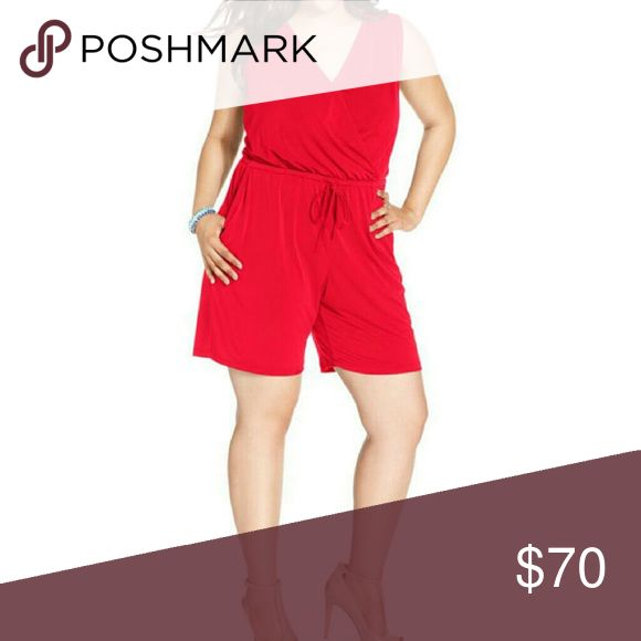 """Coming Soon NY Collection Romper Price will be $35  Tango red 95% polyester, 5% spandex Approx measurements Waist across 20"""" Inseam 8"""" Rise 14.5""""  Bust across 24.5"""" NY Collection Pants Jumpsuits & Rompers"""