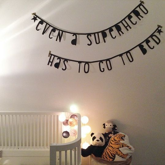 #Wordbanner #tip: Even a #superhero has to go to bed - Buy it at www.vanmariel.nl - € 11,95