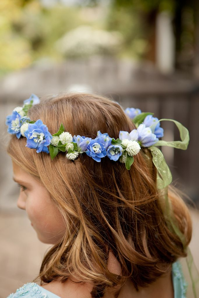 Delphinium and Gomphrena perfect little girl crowns tartan ribbon tho