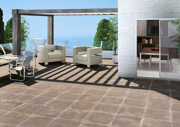 Rocersa: Synergy Brown 20mm. porcelain tile for outdoors