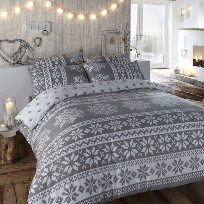 Duvet cover in grey. Winter bedding in a warm flannelette quilt cover set with Nordic snowflake designs in white. Insbruck duvet cover set. - http://www.homedecoz.com/interior-design/duvet-cover-in-grey-winter-bedding-in-a-warm-flannelette-quilt-cover-set-with-nordic-snowflake-designs-in-white-insbruck-duvet-cover-set/