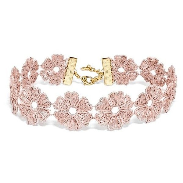Women's Baublebar Daisy Choker (£25) ❤ liked on Polyvore featuring jewelry, necklaces, accessories, chokers, bracelets, pink, flower choker necklace, flower jewelry, braid jewelry and baublebar jewelry