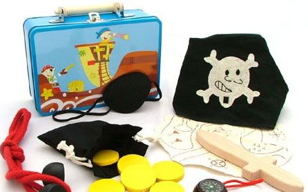 Wooden Pirate Dress Up Play Set in Carry Tin - $20  This blue tin suitcase comes with the following 2 eye patches. Rope to tie up enemies and practice knots (with instructions) A pull string bag with yellow wood coins, treasure map, pirate head scarf. Real working compass in wooden base. Small wooden dagger - rounded edges fantastic toy which encourages fantasy play and a great little tin case to keep everything together. 3yrs +