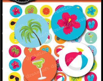 Tropical fiesta 1 pulgada redondo círculos para adhesivos, posavasos, etiquetas, colgantes, toppers Magdalena, alfileres y más