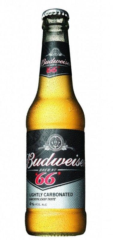 Cerveja Budweiser Brew n°66, estilo Lite American Lager, produzida por Anheuser-Busch, Paraguai. 4% ABV de álcool.