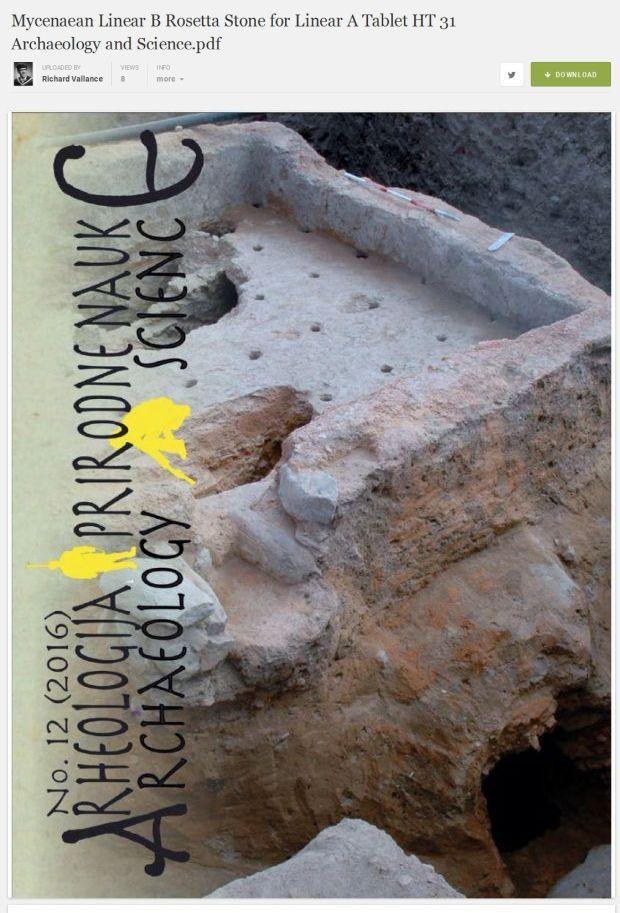 Mycenaean Rossetta Stone for Linear A tablet HT 31