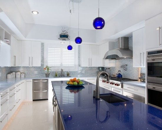 white kitchen cabinets blue countertops Extraordinary Luxury Blue Quartz Countertop | Kitchen | Quartz kitchen countertops, Blue