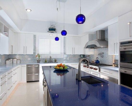 white kitchen cabinets blue countertops Extraordinary Luxury Blue Quartz Countertop | Kitchen
