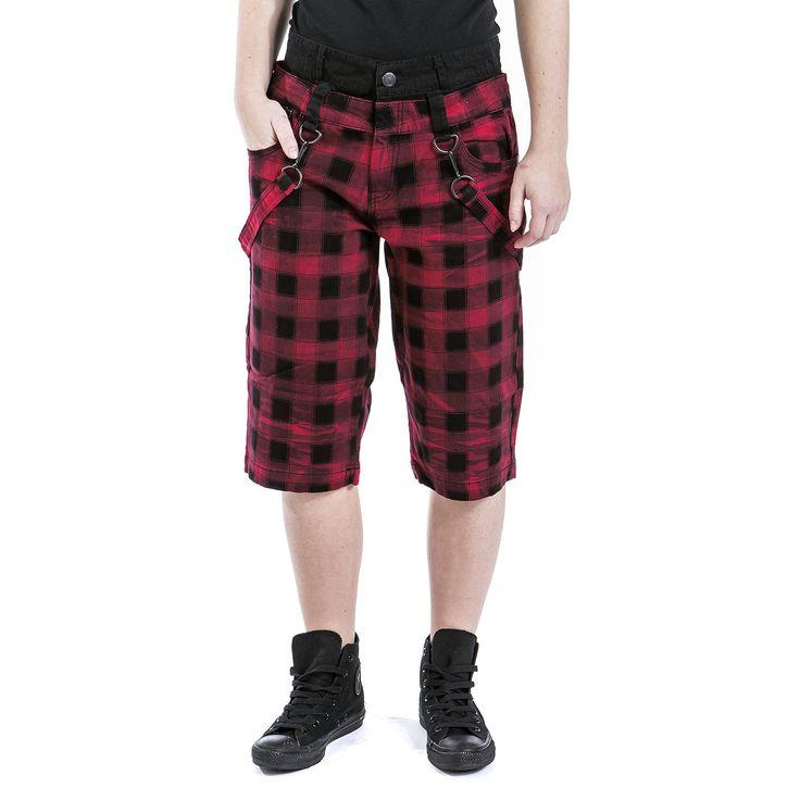 """Pantaloncini donna """"Rock Chain Shorts"""" della collezione Black Premium by EMP fantasia tartan con fascia nera in vita, lunghi fino al ginocchio con cinghie removibili."""