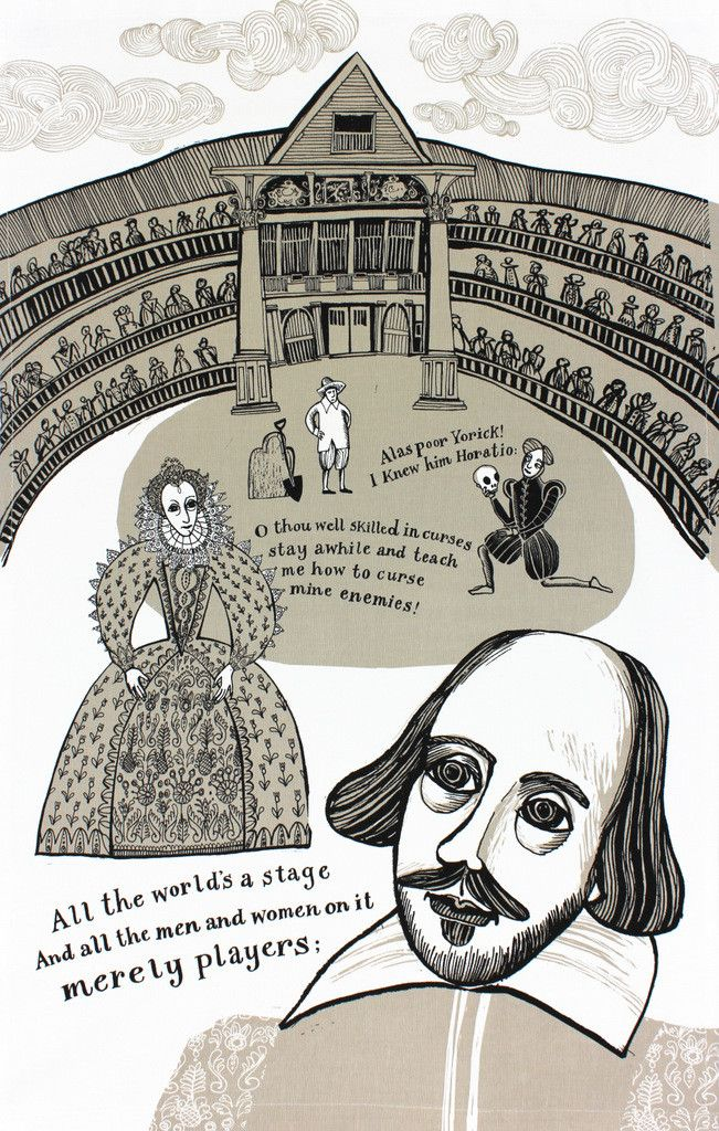 """""""Out, damned spot! Out, I say!"""" Yes, that's what you'll hearme muttering whilst I dry up the wettest of dishes with this fantastic Shakespeare tea towel. Desig"""