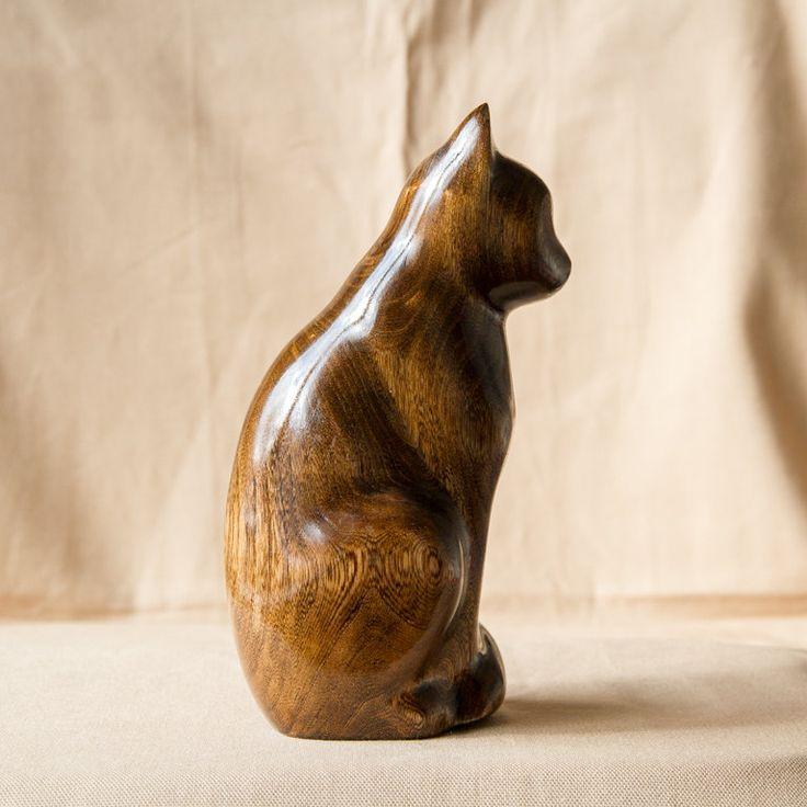 Wooden Cat Statue Wooden Cat Figurine Wood от UkrainianWoodsCarvin