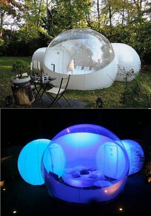Get ready to have a tranquil night of camping with this inflatable bubble tent. It has a large bedroom with two attached tunnels, so you are never short of living space. It will always stay intact during harsh weather and will also protect you from rain storm.