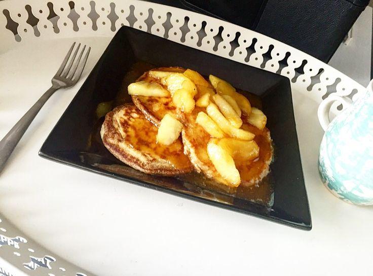 Caramel apple pancakes! Best pancake recipe ever!!! | New Bib Design and Apple Pancake Recipe | little deer, big blog