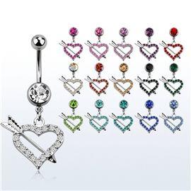 Piercing do pupíku - srdce s šípem PBV00548. Piercing ozdobenými krásnými kamínky různých barev. :-)