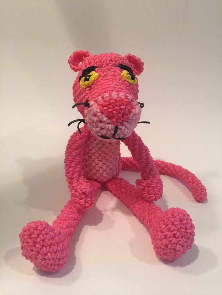 Pink Panther Rubber Band Figure, Rainbow Loom Loomigurumi, Rainbow Loom Character by BBLNCreations on Etsy  Loomigurumi Amigurumi Rainbow Loom