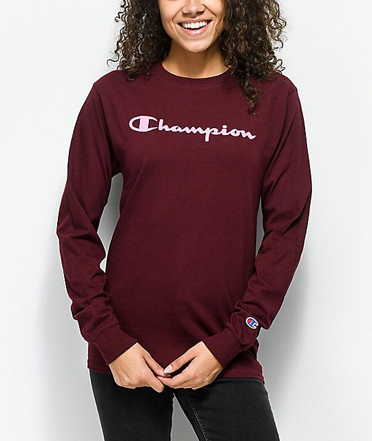 f9a4c7c71 Champion Script Burgundy & Pink Long Sleeve T-Shirt in 2019 ...