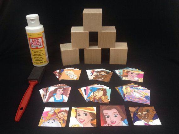"DIY Belle (Beauty & the Beast) Storybook Blocks - Set of 6 Wooden Blocks, 1.75"" cubes, featuring 40 storybook illustrations"