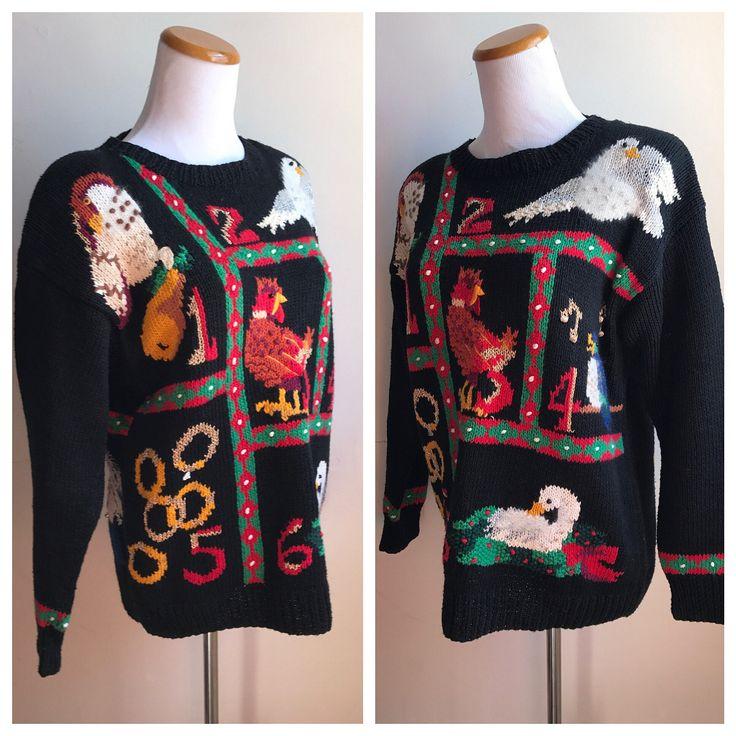 Vintage Ugly Christmas Sweater | 12 Days of Christmas | Black Holiday Sweater | Embellished Christmas Sweater | Classic Christmas Song Top by VintageBobbieMaude on Etsy