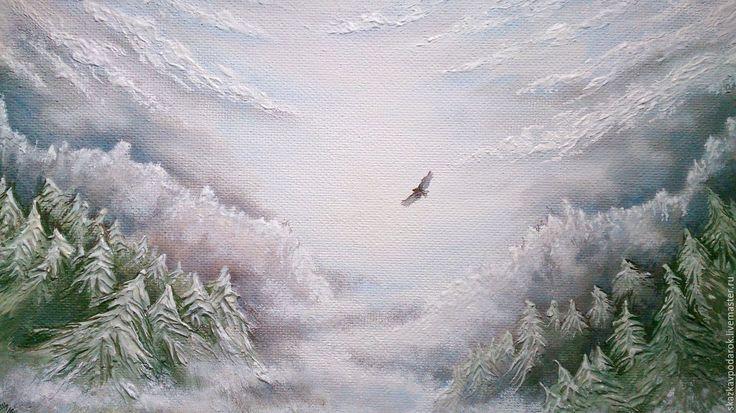 """Купить картина """"Свободный полёт"""" - картина, картина для интерьера, пейзаж, горы, небо, облака"""