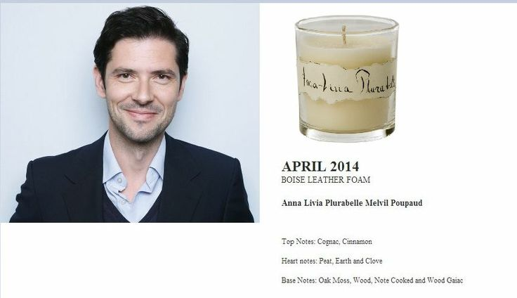 Melvil Poupaud for Quintessence Paris  2014 Calendar Collection  Anna Livia Plurabelle 140g Candle (BOISE LEATHER FOAM) http://french-studio-imports.myshopify.com/ #FSI