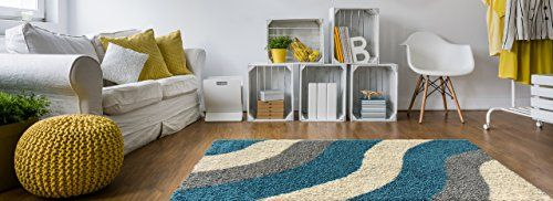 Home Decorators Collection | Soft Shag Area Rug 5x7 Geometric Striped Turquoise Grey Shaggy Rug  Contemporary Area Rugs for Living Room Bedroom Kitchen Decorative Modern Shaggy Rugs -- Read more reviews of the product by visiting the link on the image. Note:It is Affiliate Link to Amazon.